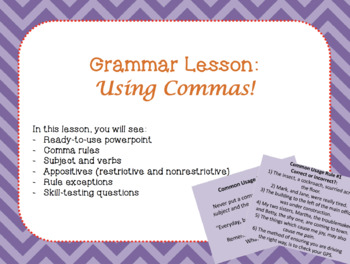 Using Commas - Ready to Use Powerpoint Mini Lesson