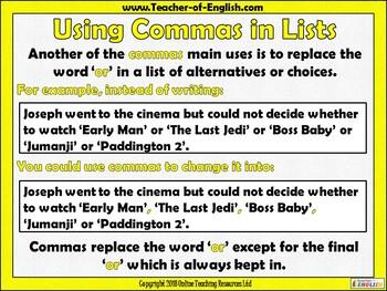 Using Commas Teaching Resource