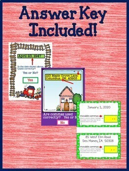 Using Commas in Dates and Addresses 3rd Grade Grammar for Google Drive L.3.2.B
