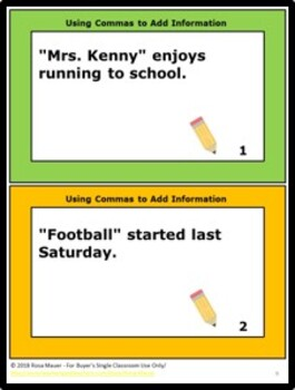 Using Commas to Add Information Writing Activity