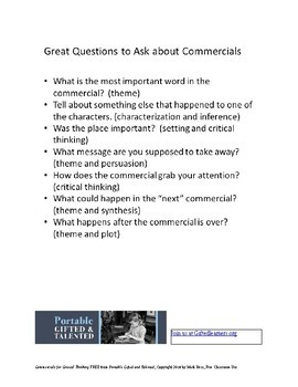 Using Commercials for Critical Thinking in the Classroom -- FREE!