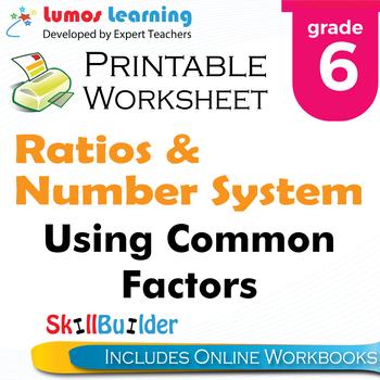 Using Common Factors Printable Worksheet, Grade 6