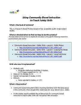 Using Community Based Instruction to Teach Safety Skills