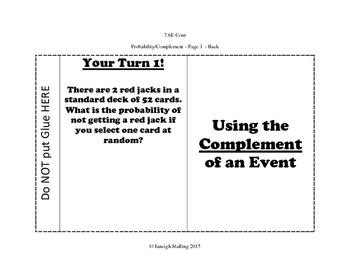 Using Complements of Events INB TEKS 7.6E