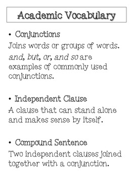 Using Conjunctions to make Compound Sentences