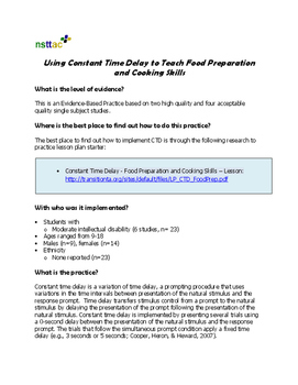Using Constant Time Delay to Teach Food Preparation and Cooking Skills