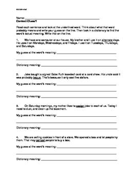Using Context Clues: Grade 3/4 THREE Worksheets