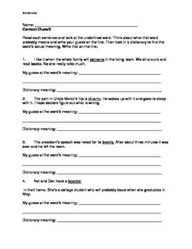 Using Context Clues: Grade 4/5 THREE Worksheets