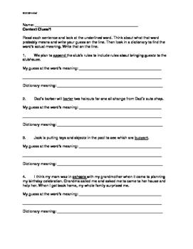 Using Context Clues: Grade 5/6 THREE Worksheets