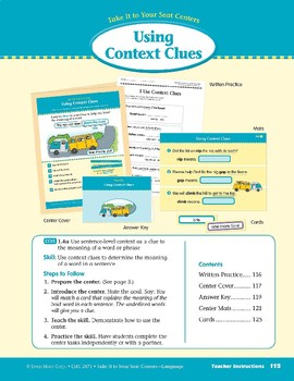 Using Context Clues (Take It to Your Seat Centers: Common Core Language)