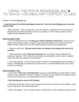 Using Context Clues for Vocabulary - Movie Monsters, Inc. Lesson
