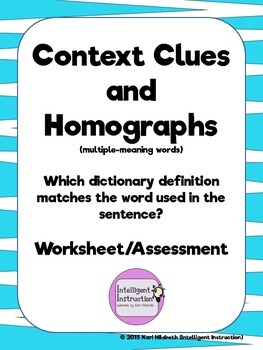Using Context Clues to Determine Dictionary Definitions of Homographs