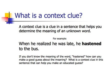 Using Context Clues to Determine Meaning - Interactive Powerpoint