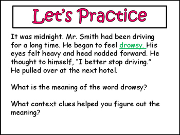Using Context Clues to Determine Meaning: Power Point