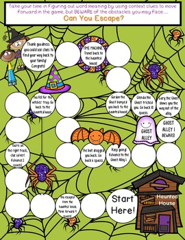 Context Clues GAME HALLOWEEN Edition: Great for rotations!