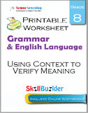 Using Context to Verify Meaning Printable Worksheet, Grade 8