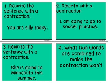 Using Contractions Scoot Game