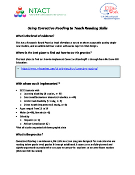 Using Corrective Reading to Teach Reading Skills