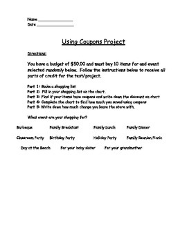 Buying Food - Using Coupons Project (Real World Math)