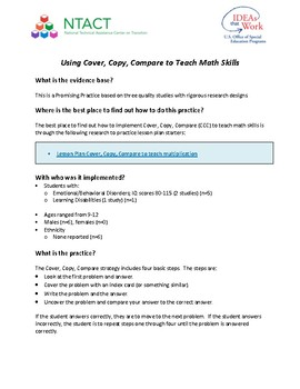 Using Cover, Copy, Compare to Teach Math Skills