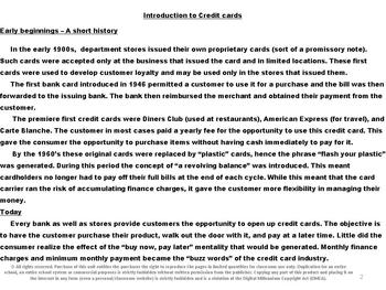 Using Credit Cards: Everyday Life Skills Math Series: Packet Four