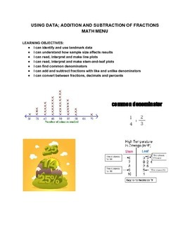 Using Data; Adding/Subtraction of Fractions