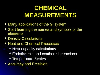 Using Data for Chemical Calculations- Density and Specific Heat Capacity