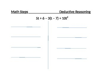 Using Deductive Reasoning to Simplify an Algebraic Expression Worksheet