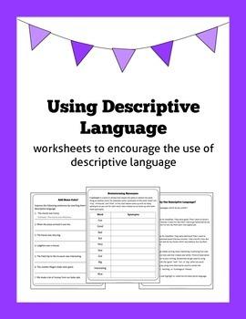 Using Descriptive Language: worksheets to encourage colour