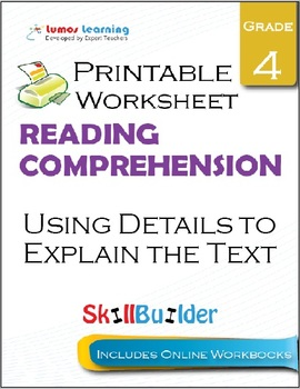 Using Details to Explain the Text Printable Worksheet, Grade 4