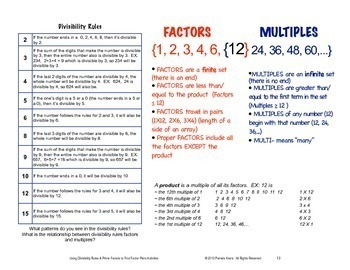 Divisibility Rules with Prime Factors to Find Factor Pairs Activities