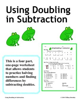 Using Doubling in Subtraction, Halving Numbers for Morning Work or Homework