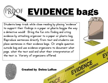 Using EVIDENCE bags in Close Reading!