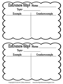 Using Entrance Slips to Guide Instruction:  FREEBIE