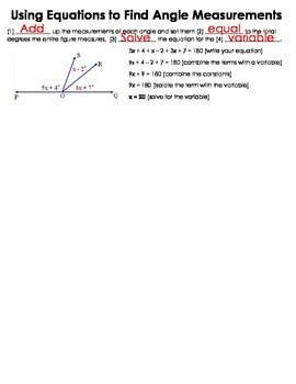 Using Equations (Algebra) to Find Angle Measurements Guided Notes
