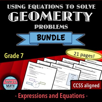 Using Equations To Solve Geometry Problems Worksheet Bundle Tpt