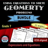 Using Equations to Solve Geometry Problems Worksheet Bundle