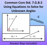 Using Equations to Solve for Unknown Angles Common Core 7.G.5