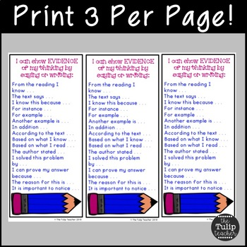 Using Evidence from the Text in Written Response and Speaking {Desk Prompts}