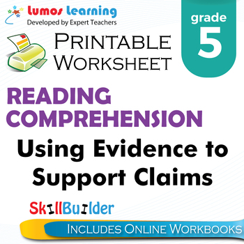 Using Evidence to Support Claims Printable Worksheet, Grade 5