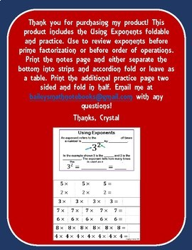 Using Exponents for 6th Grade Math Interactive Notebook