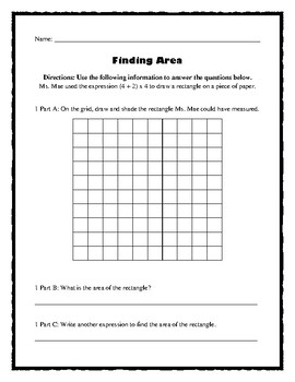 Using Expressions to Find Area