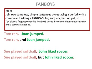 Using FANBOYS in Writing