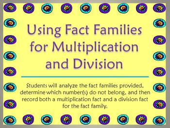 Using Fact Families for Multiplication and Division