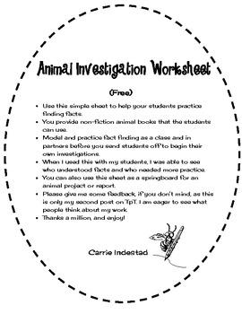 Using Facts: Animal Investigation Worksheet