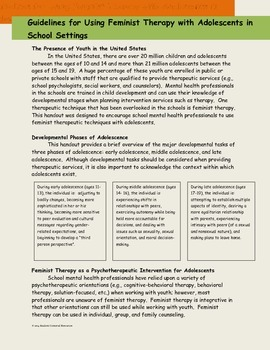 Guidelines for Using Feminist Therapy with Adolescents in School Settings