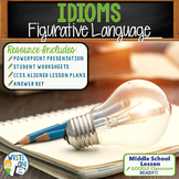 Idioms Figurative Language Lesson w/ PowerPoint, Student Worksheet, Lesson Plan