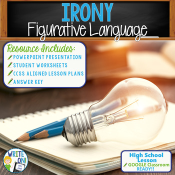 Irony Figurative Language Lesson w/ PowerPoint, Student Worksheet, Lesson Plan
