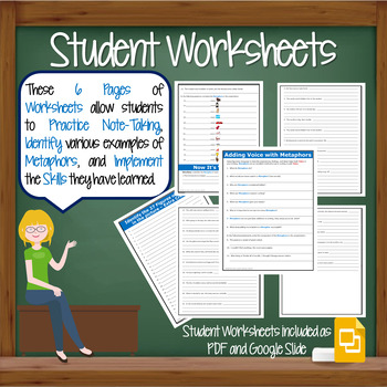 Metaphor Figurative Language Lesson w/ PPT, Student Worksheet, & Lesson Plan