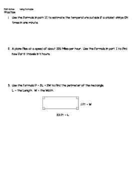 Using Formulas - Math Notes